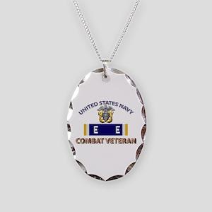 Navy E Ribbon - Cbt Vet - E2 Necklace Oval Charm