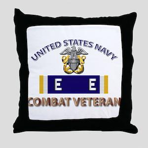 Navy E Ribbon - Cbt Vet - E2 Throw Pillow
