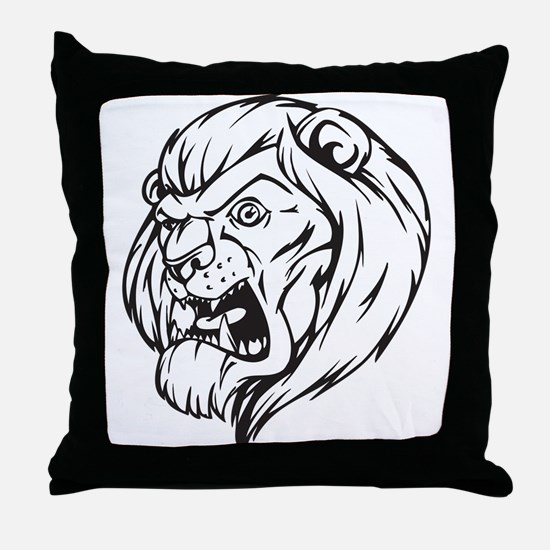 Lion Mascot (Black) Throw Pillow