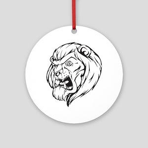 Lion Mascot (Black) Ornament (Round)