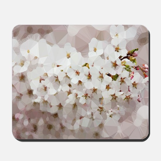 Cherry Blossom Low Poly Floral Mousepad
