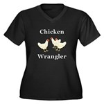 Chicken Wran Women's Plus Size V-Neck Dark T-Shirt