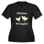 Chicken Wran Women's Plus Size V-Neck Dark T-Shirt