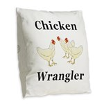 Chicken Wrangler Burlap Throw Pillow
