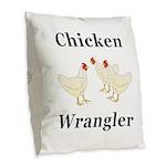 Chicken Wrangler Burlap Throw Pillow