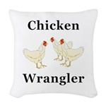 Chicken Wrangler Woven Throw Pillow