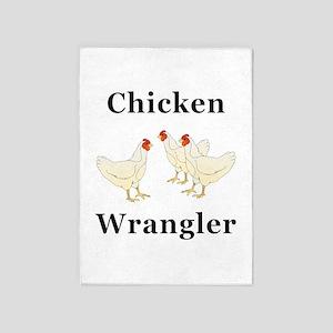 Chicken Wrangler 5'x7'Area Rug