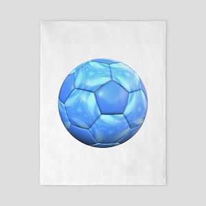 Swirling Light Blue Soccer Ball Twin Duvet Cover