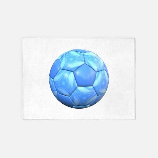 Swirling Light Blue Soccer Ball 5'x7'Area Rug