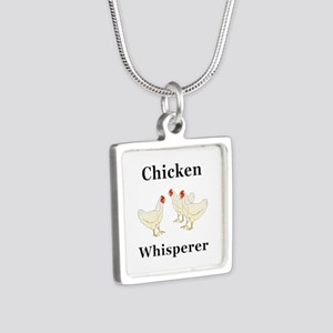 Chicken Whisperer Silver Square Necklace