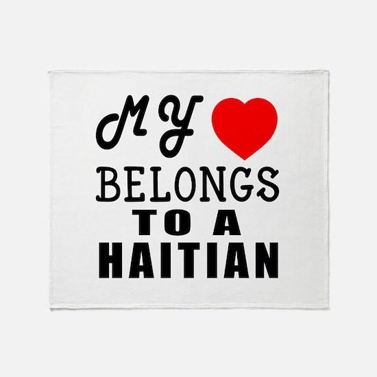 I Love Haitian Throw Blanket