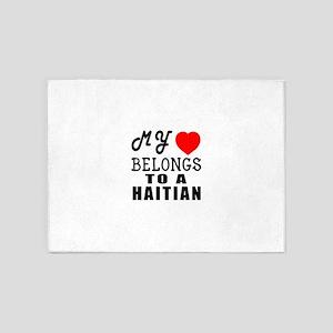I Love Haitian 5'x7'Area Rug
