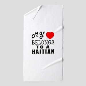 I Love Haitian Beach Towel