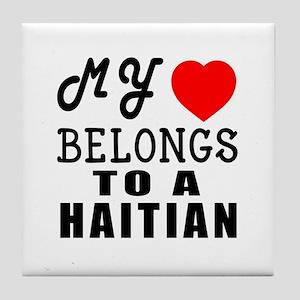 I Love Haitian Tile Coaster