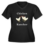 Chicken Ranc Women's Plus Size V-Neck Dark T-Shirt