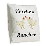 Chicken Rancher Burlap Throw Pillow