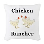 Chicken Rancher Woven Throw Pillow