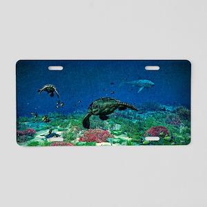 Sea turtles swim through Sea Aluminum License Plat