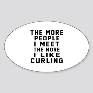 I Like More Curling Sticker (Oval)