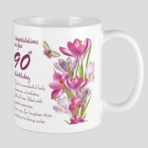 90th Birthday Butterfly And Crocus Gift Mug Mugs