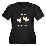 Chicken Farm Women's Plus Size V-Neck Dark T-Shirt