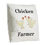 Chicken Farmer Burlap Throw Pillow