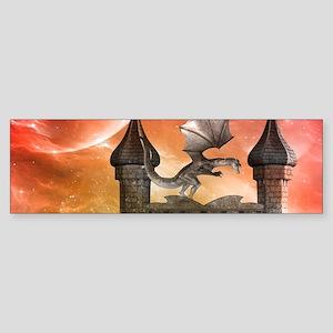 Dragon over a castle Bumper Sticker
