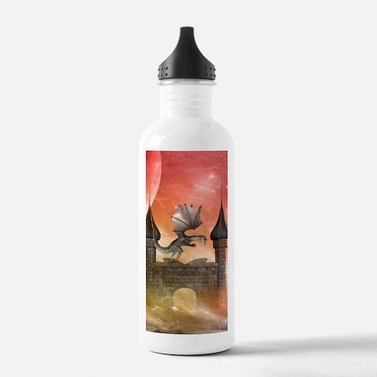 Dragon over a castle Water Bottle