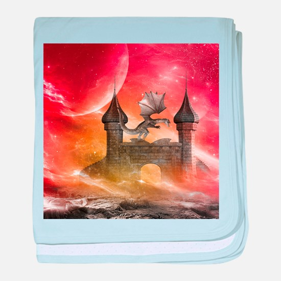 Dragon over a castle baby blanket