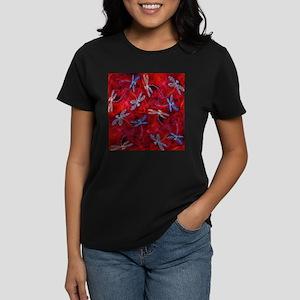 Red Hot Dragonfly Dance Women's Dark T-Shirt