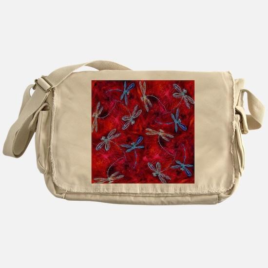 Red Hot Dragonfly Dance Messenger Bag