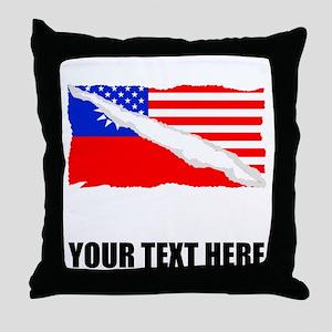 Taiwanese American Flag Throw Pillow