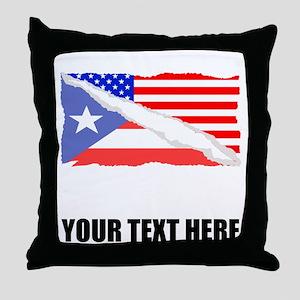 Puerto Rican American Flag Throw Pillow