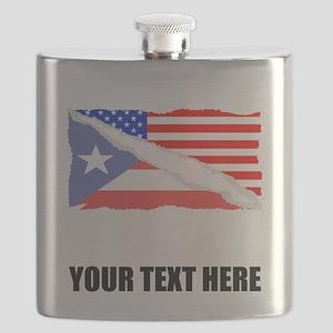 Puerto Rican American Flag Flask