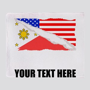 Filipino American Flag Throw Blanket