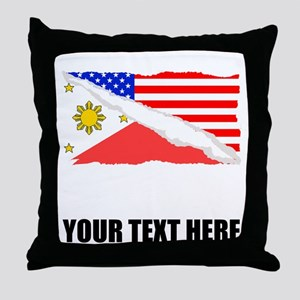 Filipino American Flag Throw Pillow