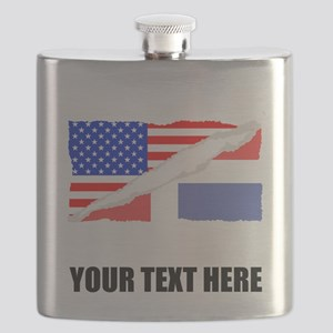 Dominican American Flag Flask