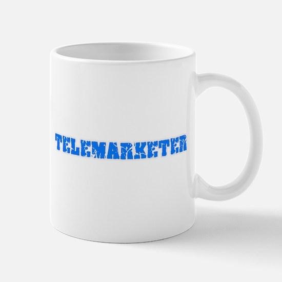 Telemarketer Blue Bold Design Mugs