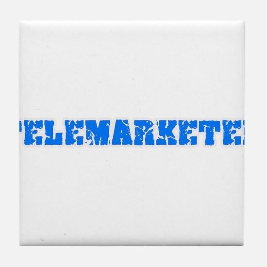 Telemarketer Blue Bold Design Tile Coaster