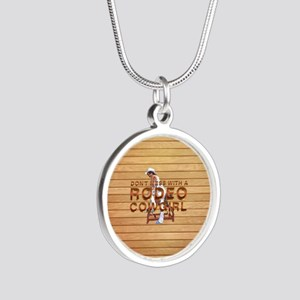 Rodeo Cowgirl Humor Silver Round Necklace