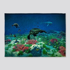 Sea turtles swim through Sea 5'x7'Area Rug