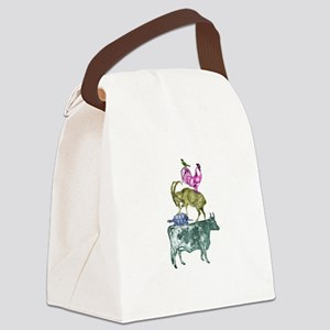 Stacked Animals Canvas Lunch Bag