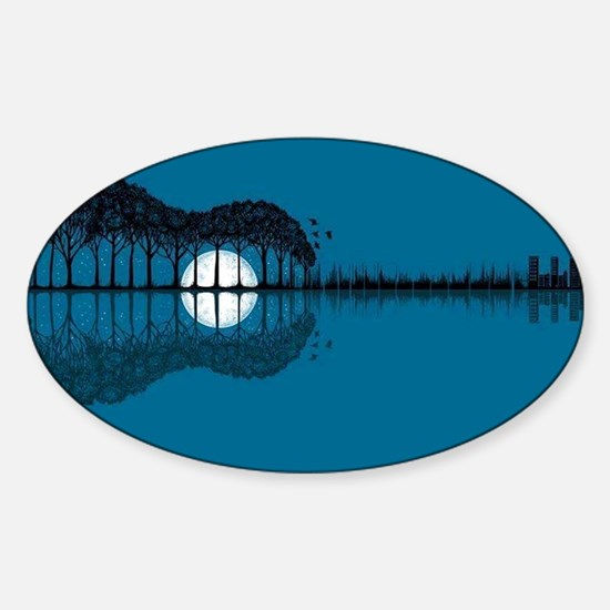Trees sea and the moon turned guitar Decal