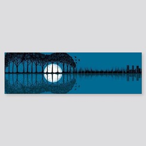 Trees sea and the moon turned guita Bumper Sticker