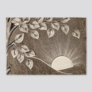 Sun and Tree Carved Stone 5'x7'Area Rug
