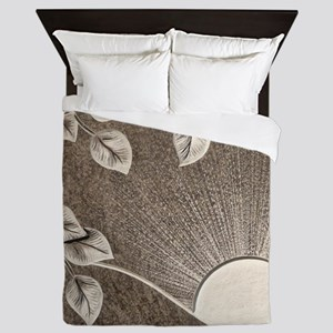 Sun and Tree Carved Stone Queen Duvet