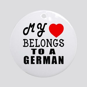 I Love German Round Ornament