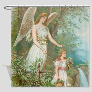 Vintage Guardian Angel Shower Curtain