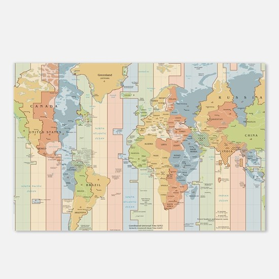 Cute Time zone Postcards (Package of 8)