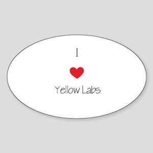 I love Yellow Labs Sticker (Oval)